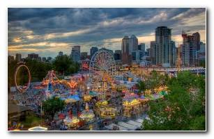 Calgary Colorful Fair At Night Wallpaper