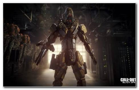 Call Of Duty Black Ops 3 Campaign. Robot Standing While Holding A Rifle