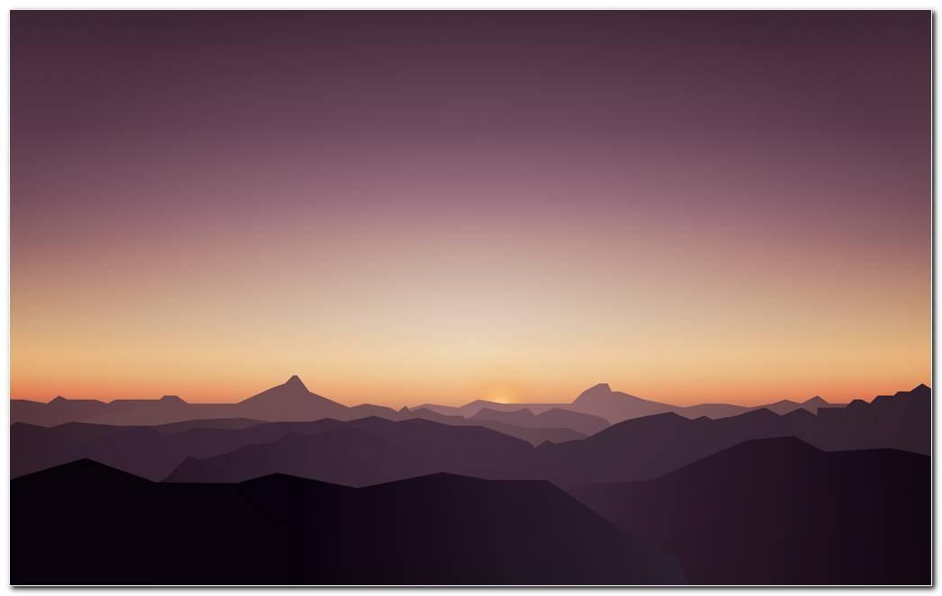 Calm Mountain Sunset Wallpaper