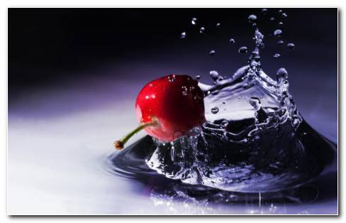 Cherry In Water HD Wallpaper