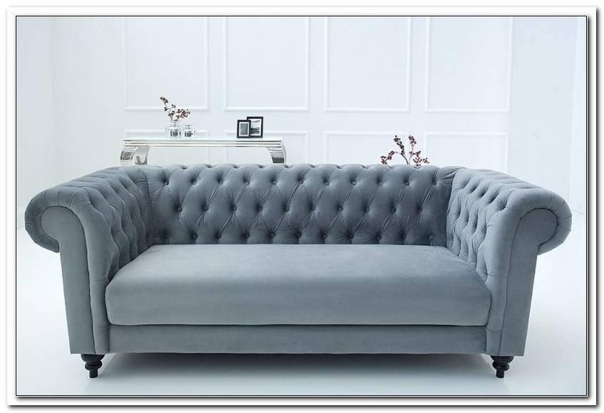 Chesterfield Sofa Samt Grau