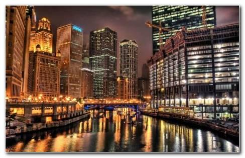 Chicago At Night HD Wallpaper