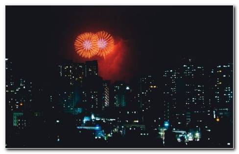City Fireworks HD Wallpaper
