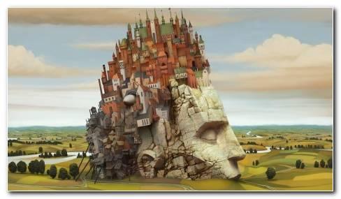City On Stone Skull HD Wallpaper