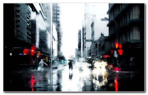 City Rain HD Wallpaper