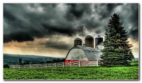 Clouds Over The Barn HD Wallpaper