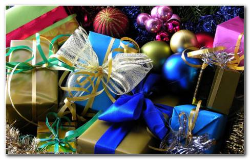 Colorful Christmas presents HD wallpaper