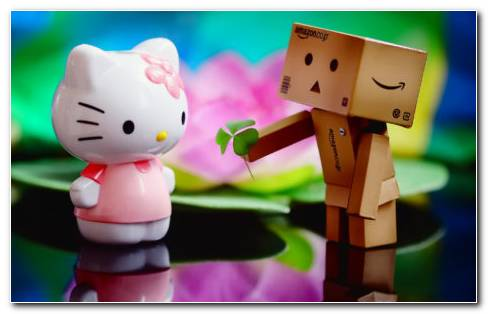 Danbo And Hello Kitty HD Wallpaper