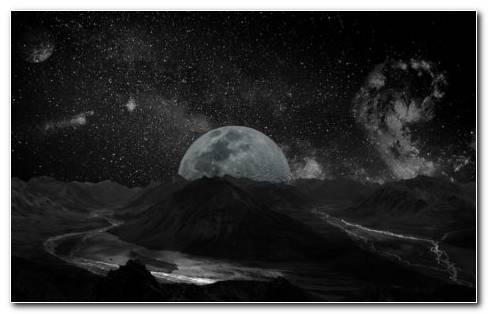 Dark Space With White Moon HD Wallpaper