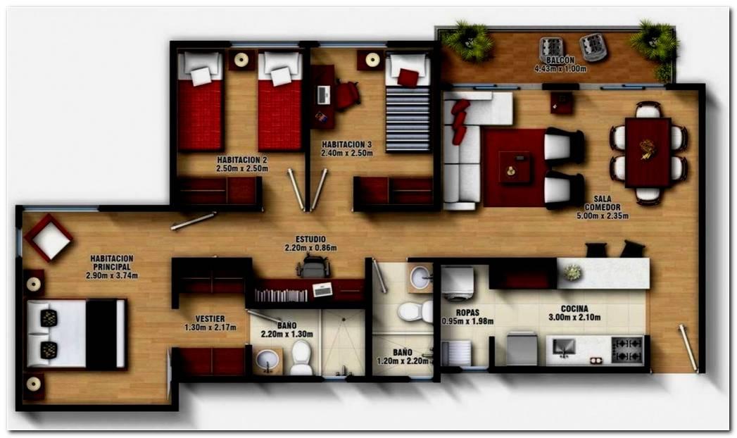 Dise O De Casas 2 Dormitorios