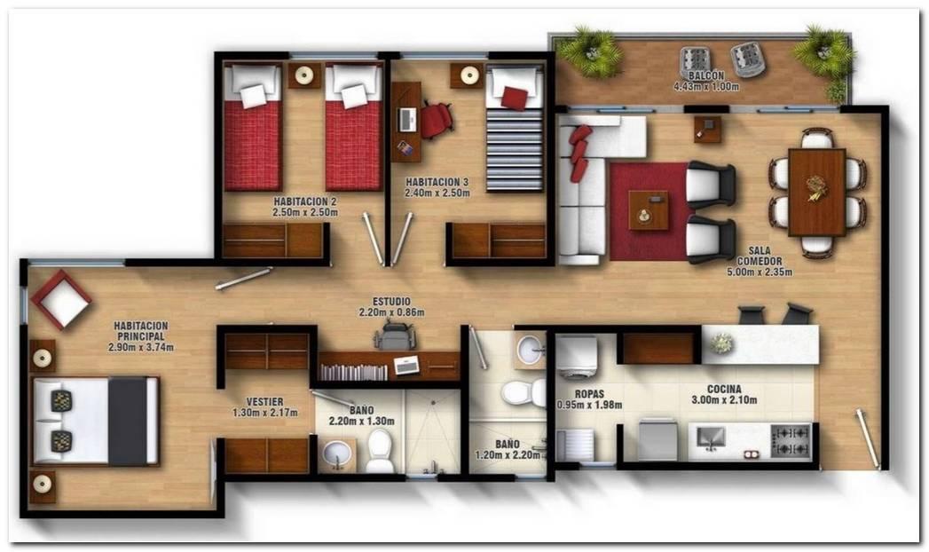 Dise O De Casas Tres Dormitorios