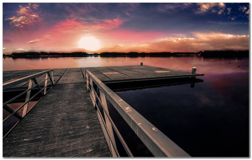 Dock Sunset Nature Wallpaper Background