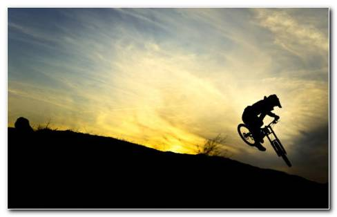 Downhill Biker Silhouette HD Wallpaper