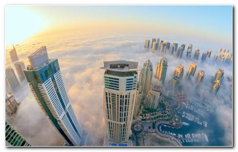 Dubai Buildings Skyscrapers Clouds Fog Mist Sunlight Fisheye Wallpaper