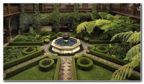 Fountain In Geometric Garden HD Wallpaper