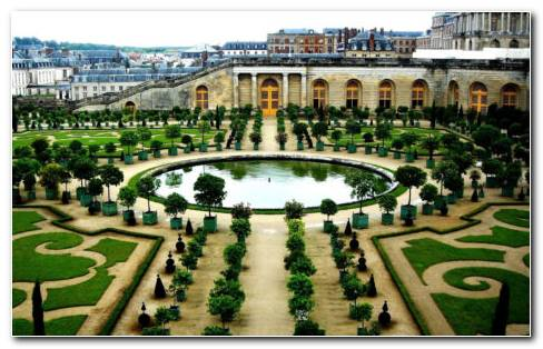 French Architecture Garden HD Wallpaper