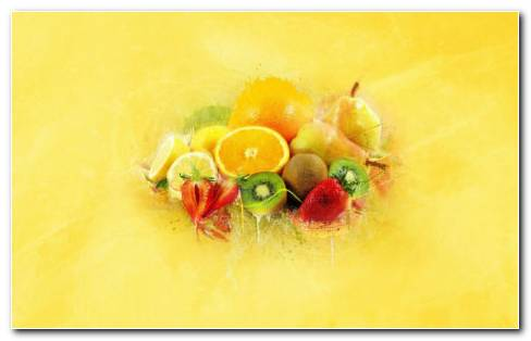 Fruits In Juice HD Wallpaper