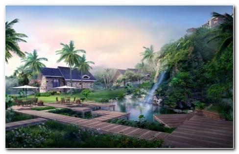 Garden Waterfall HD Wallpaper