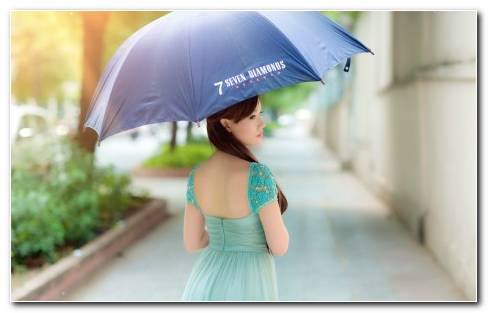 Girl With Blue Umbrella Wallpaper