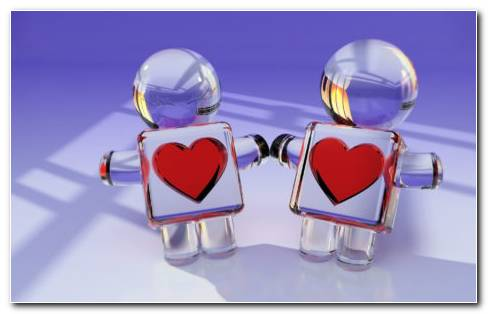 Glass Heart Couple Toys HD Wallpaper