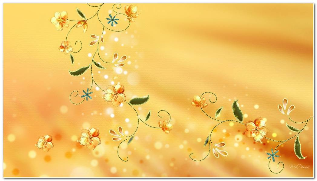 Golden Flowers Background Wallpaper