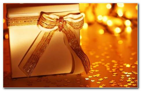 Golden Ribbon Chritmas Gift HD Wallpaper