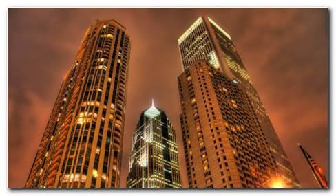 Golden Skyscrapers HD Wallpaper