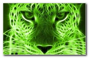 Green 3D Leopard Wallpaper