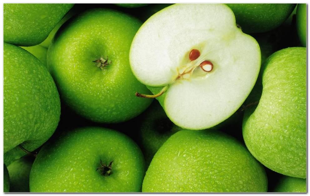 Green Apple Fruit. Green Background Wallpaper