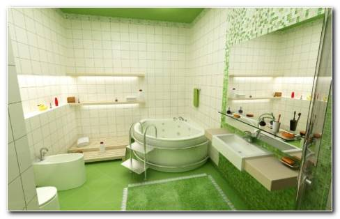 Green Bathroom Interior HD Wallpaper