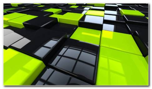 Green And Black Cubes HD Wallpaper
