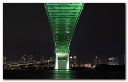 Green Light From Tokyo Bridge HD Wallpaper