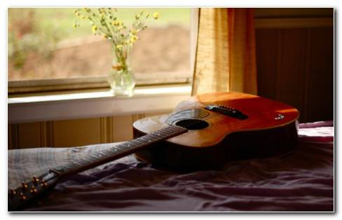 Guitar In Bedroom HD Wallpaper