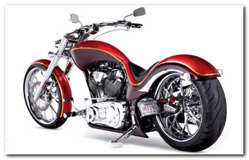 Harley Red Chopper HD Wallpaper