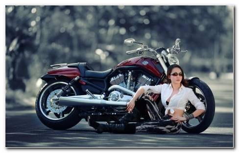 Harley Women Model With Bike HD Wallpaper