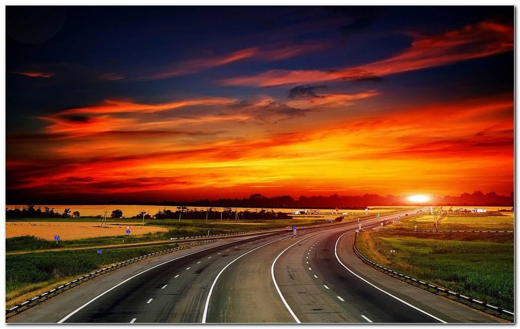 Highway At Sunset Nature Wallpaper Background