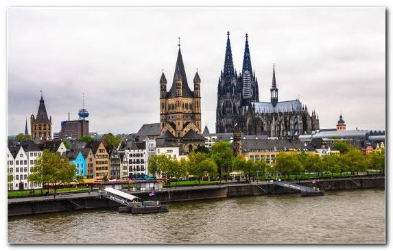 Image Cologne Cathedral River Spire Tourist Attraction Canal