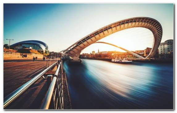 Image Millennium Bridge London Sky Bridge River Tyne Landmark