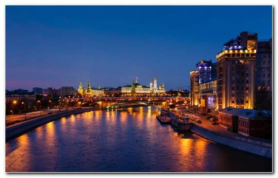 Image Moskva River Urban Area Horizon Skyline Night