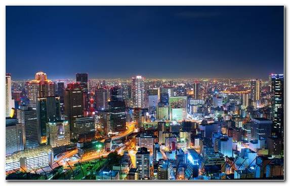Image Osaka City Night Horizon Cityscape