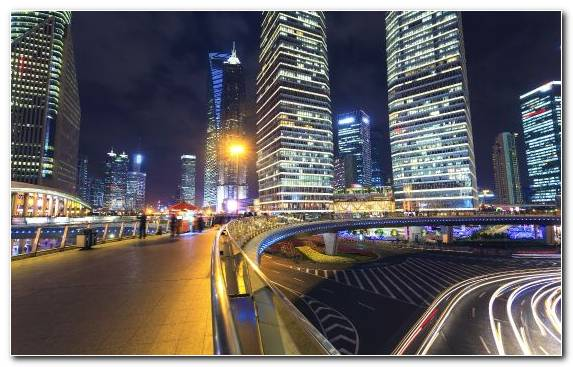 Image Shanghai City Urban Area Night Landmark