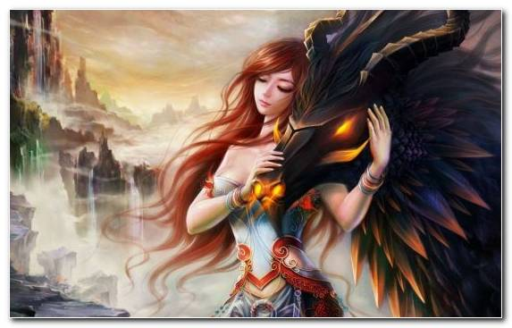 Image Angel Woman Warrior Dragon Mythology Girl
