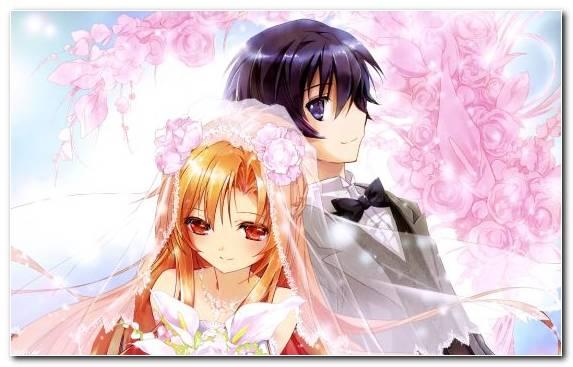 Image Anime Asuna Long Hair Brown Hair Flower