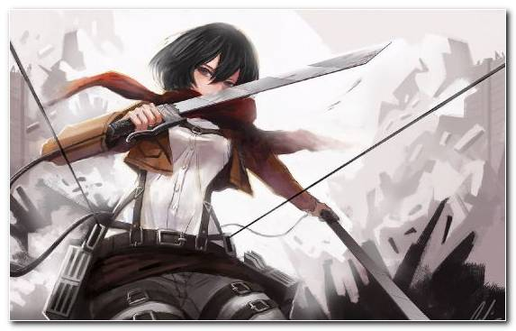 Image Anime Attack On Titan Knives Sword Woman Warrior