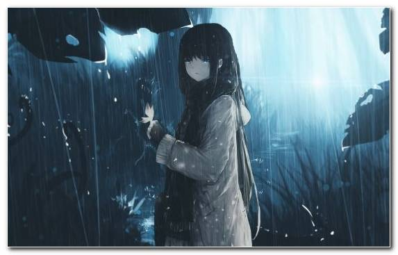 Image Anime Hair Girl Rain Snapshot