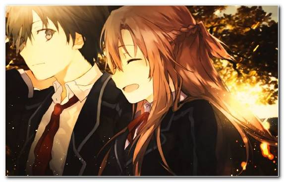 Image Anime Kirito Brown Hair Sinon Asuna