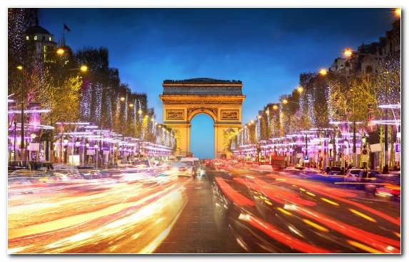 Image Arc De Triomphe Cityscape Night City Sky