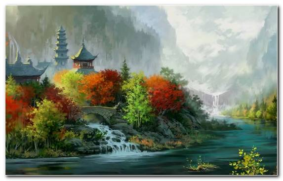 Image Art Landscape Painting Drawing Watercourse Bank