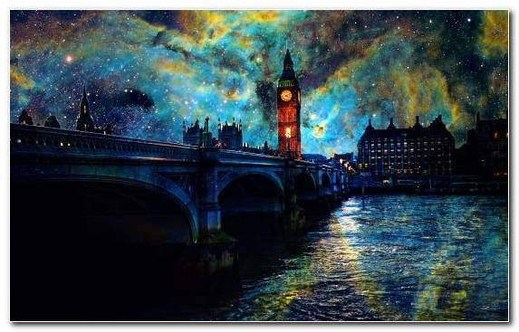 Image art night The Starry Night london waterway