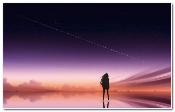 Image Atmosphere Space Girl Sky Anime